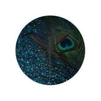 Glittery Aqua Peacock Clocks