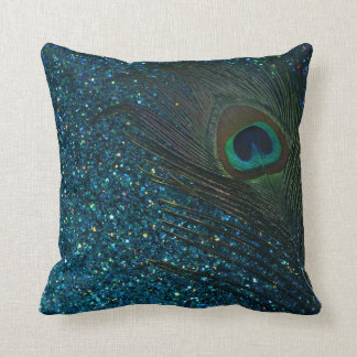 Glittery Aqua Peacock Feather Cushion
