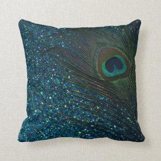 Glittery Aqua Peacock Feather Throw Cushion