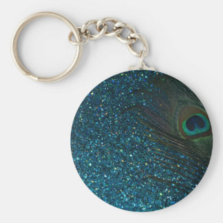Glittery Aqua Peacock Key Ring