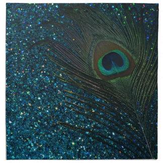 Glittery Aqua Peacock Napkin
