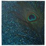 Glittery Aqua Peacock Napkins