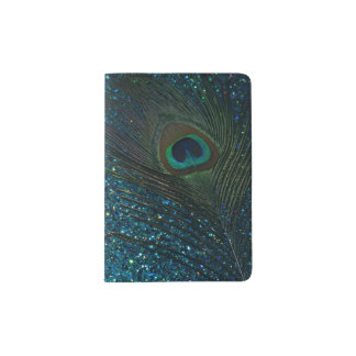 Glittery Aqua Peacock Passport Holder