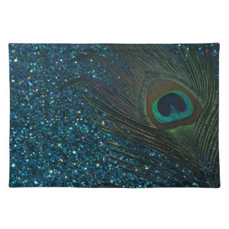 Glittery Aqua Peacock Placemat