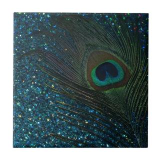 Glittery Aqua Peacock Tile