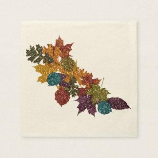 Glittery Autumn Leaves Paper Napkins