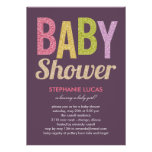 Glittery Baby Shower Invitation - Girl Personalized Invites