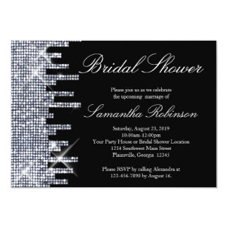 Glittery Black/Silver Glamour Bridal Shower Personalized Announcements