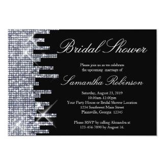 Glittery Black/Silver Glamour Bridal Shower 5x7 Paper Invitation Card
