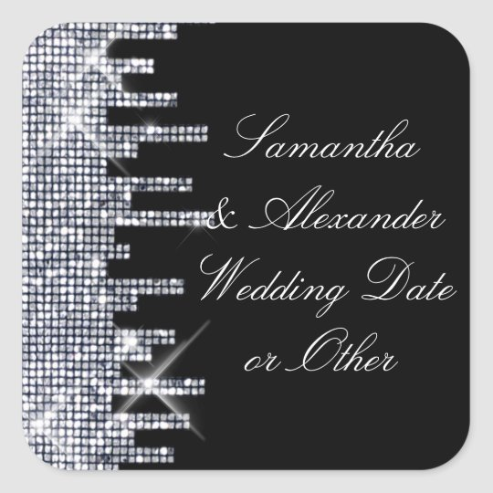 Glittery Black/Silver Glamour Wedding Custom Square Sticker