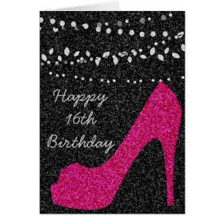 Glittery Black with Hot Pink Stiletto Card