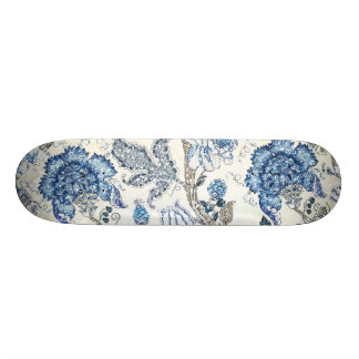 Glittery Blue Floral on Winter White Skate Board Deck
