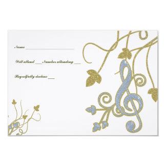 Glittery Blue Gold White Music rsvp 9 Cm X 13 Cm Invitation Card