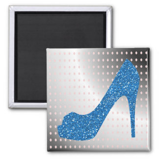 Glittery Blue High Heel Metallic Background Square Magnet