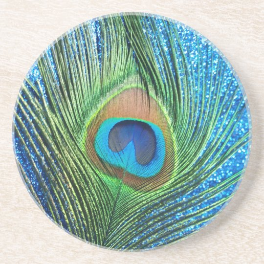 Glittery Blue Peacock Feather Still Life Drink Coaster
