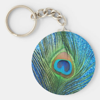 Glittery Blue Peacock Feather Still Life Key Ring