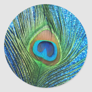 Glittery Blue Peacock Feather Still Life Round Sticker