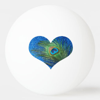 Glittery Blue Peacock Heart Ping Pong Ball