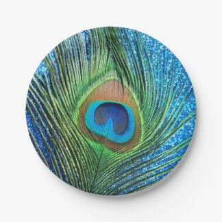 Glittery Blue Peacock Paper Plate