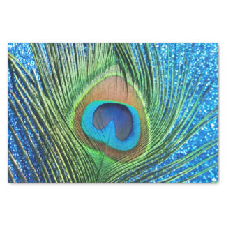 Glittery Blue Peacock Tissue Paper