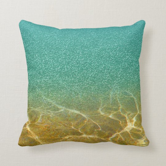 Glittery Blue Sea and Sand Pillow