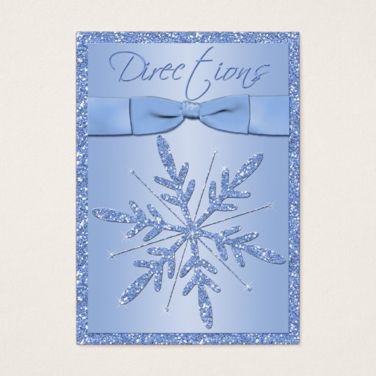 Glittery Blue Snowflake Directions Enclosure Card