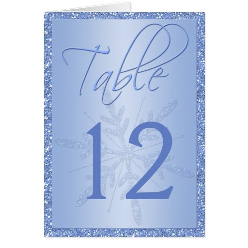 Glittery Blue Snowflake Table Number Card Greeting Cards