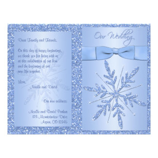 Glittery Blue Snowflake Wedding Program Custom Flyer