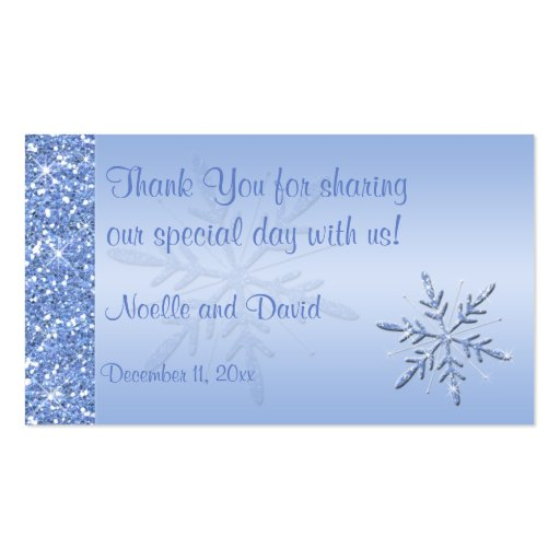 Glittery Blue Snowflakes Wedding Favor Tag Business Card Template