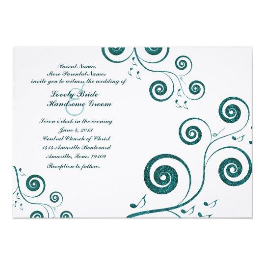Glittery Blue Swirls Music Wedding Invitation