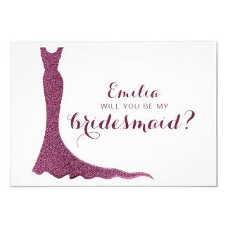 Glittery bridesmaid dress card