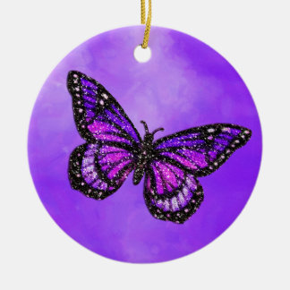 Glittery Butterfly on Watercolor Christmas Ornament