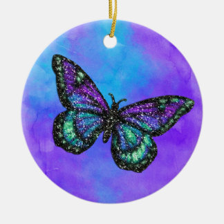 Glittery Butterfly on Watercolor Round Ceramic Decoration