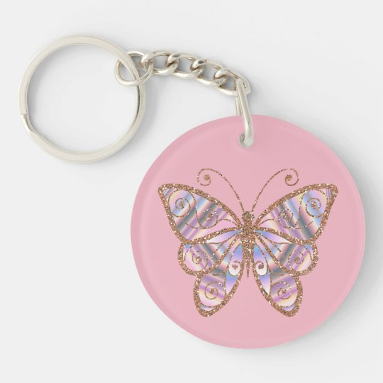 Glittery Butterfly Personalised Pink Key Chain