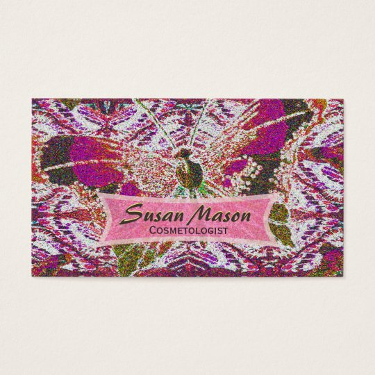 Glittery Butterfly Print Business Card