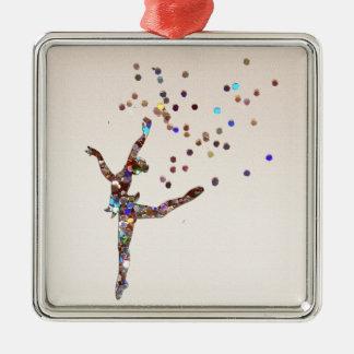 Glittery Dancer Silver-Colored Square Decoration