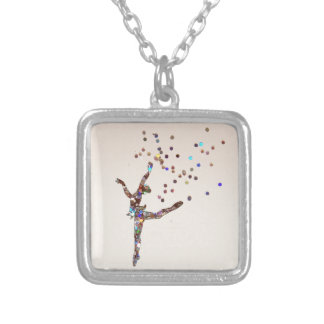Glittery Dancer Silver Plated Necklace