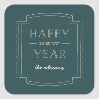 Glittery Deco New Year Holiday Sticker - Teal