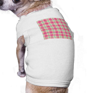 Glittery Easter Tartan Plaid Sleeveless Dog Shirt