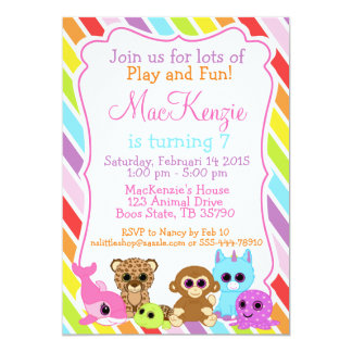 Glittery Eyes cute Animals birthday invitation