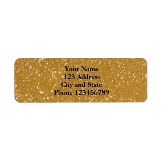 Glittery faux gold glimmer return address labels