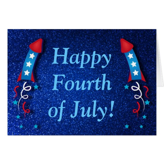 Glittery Fireworks Rocket 4th of July Card