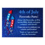 Glittery Fireworks Rocket 4th of July Invitations