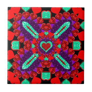 Glittery Flower Valentine Hearts Small Square Tile