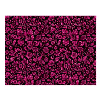 Glittery Fuscia Floral on Black Postcard