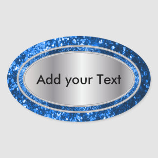 Glittery Glam Blue Sparkles Oval Sticker