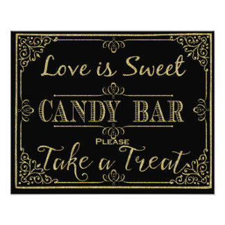 glittery gold and black candy bar wedding sign photo art