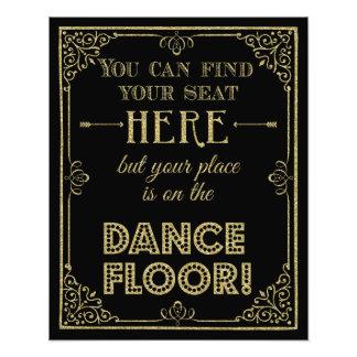 glittery gold and black dance floor wedding sign photo art