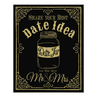 glittery gold and black date jar wedding sign photo