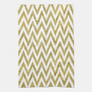 Glittery Gold and White Chevron Stripes Kitchen Towels